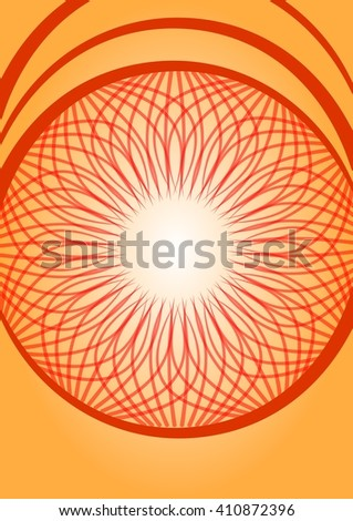 Orange gradient abstract vector background with red doodle rosette - stock vector