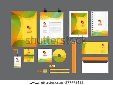 orange, green and yellow with curve graphic corporate identity template  for your business includes CD Cover, Business Card, folder, ruler, Envelope and Letter Head Designs - stock vector