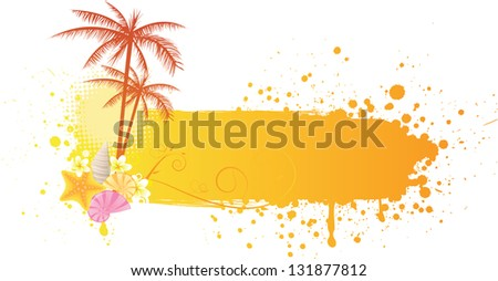 Orange grunge sea banner with decorations of starfish, seashells and palm trees