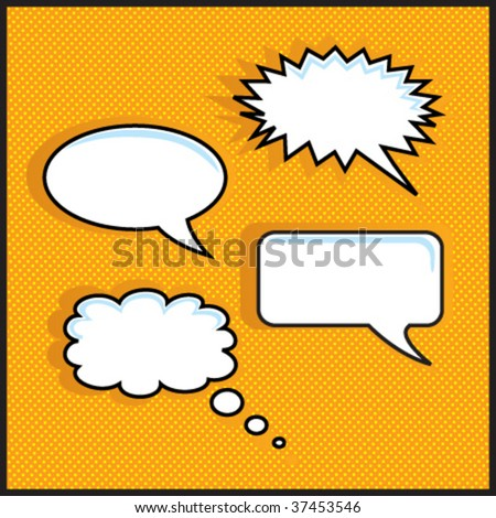 Orange halftone with speech bubbles - stock vector