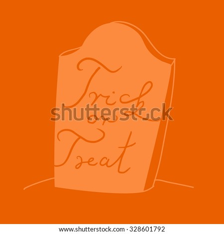 orange halloween gravestone illustration with trick or treat hand written sign - stock vector