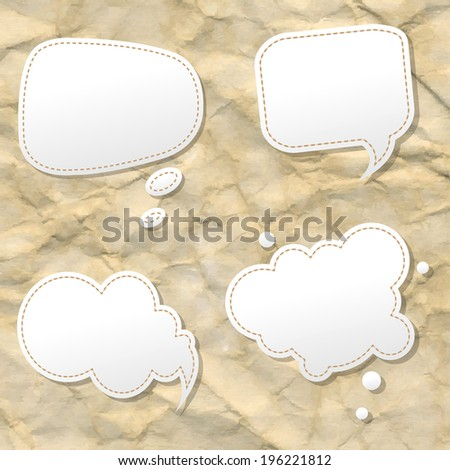 Orange Hand Draw Speech Bubble, Vector Illustration - stock vector