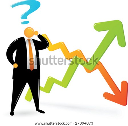Orange Head Man with black suit confusing about chart - stock vector