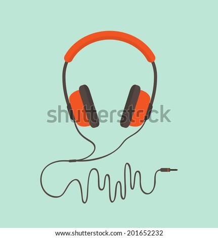 Orange headphones. Vector illustration - stock vector