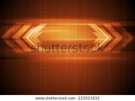 Orange hi-tech background with arrows. Vector design - stock vector