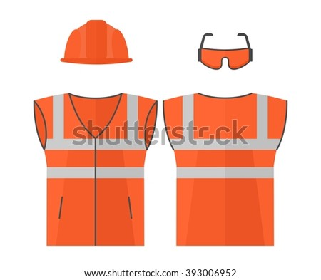 Orange high visibility vest.Conceptual image of work wear for builder. builder, building.Cartoon flat vector illustration. Objects isolated on a background.  - stock vector