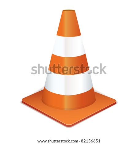 Orange highway traffic cone with white stripes - stock vector