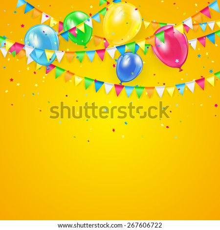 Orange Holiday background with colorful balloons, pennants and confetti, illustration. - stock vector