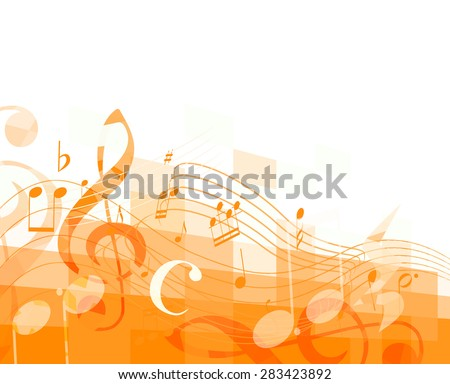 orange horizontal mosaic background with musical notes and treble clef. vector - stock vector