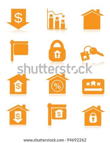 Orange Housing Market Icons - stock vector