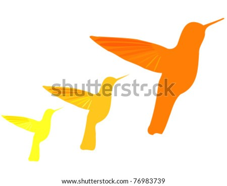 Orange hummingbirds silhouettes isolated over white. Vector