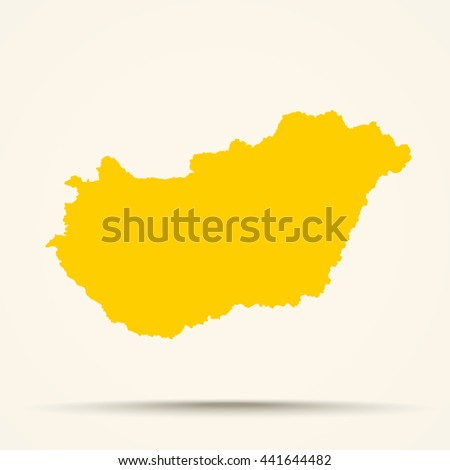 Orange Hungary Map Illustration
