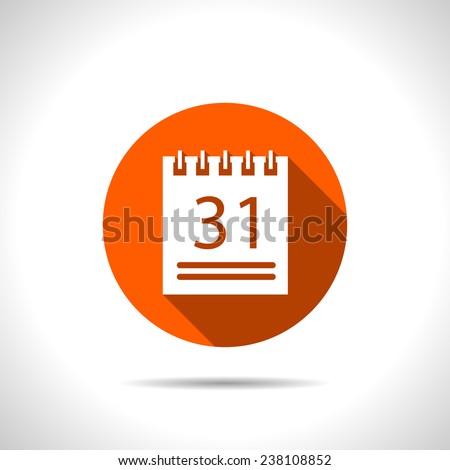orange icon of calendar - stock vector
