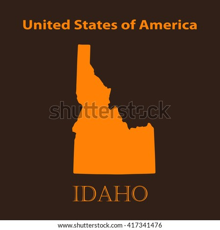 Orange Idaho map - vector illustration. Simple flat map of Idaho on a brown background. - stock vector