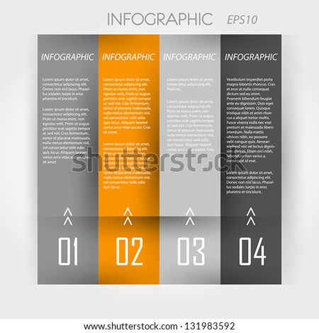 orange infographic 4 columns. infographic concept. - stock vector
