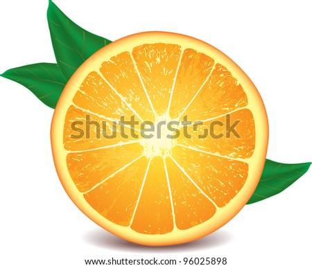 orange isolated on white photo-realistic vector illustration - stock vector
