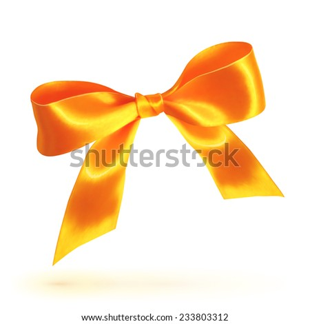 Orange isolated vector bow on white background