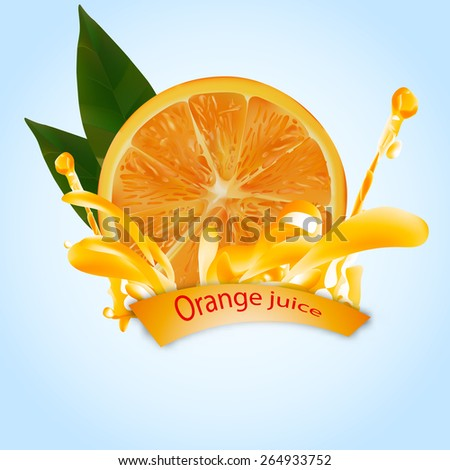 orange juice and orange with leaf . done gradient mesh on blue background . vector illustration . eps 10 - stock vector
