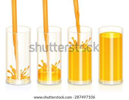 Orange Juice in glass 4 stages, Detailed vector - stock vector