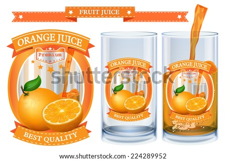 Orange juice Label vector visual, ideal for fruit juice. Can drawn with mesh tool. Fully adjustable & scalable. Vector illustration  - stock vector