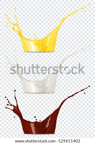 Orange juice, milk and chocolate splashes on a transparent background