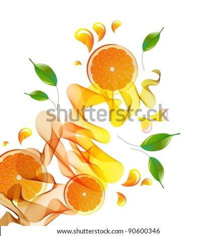 Orange juice splash with abstract wave, vector, eps10 - stock vector