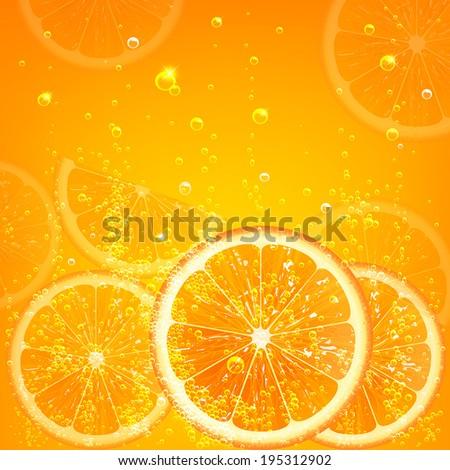 orange juice with orange slices and bubbles - stock vector