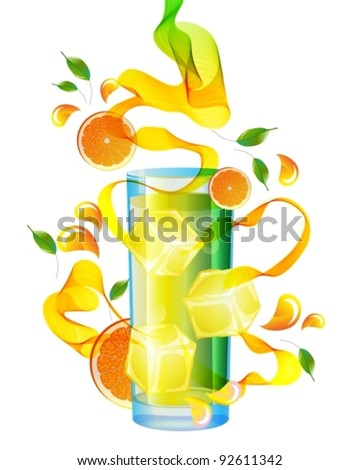 Orange juice with splash, abstract wave and leaves over white, vector, EPS10 - stock vector