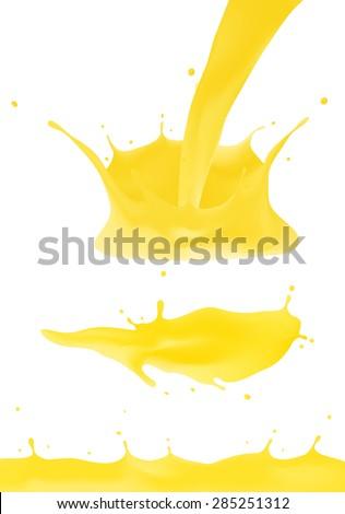 Orange juice yellow splash. - stock vector
