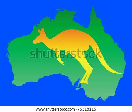Australia Map Kangaroo Name Stock Vector Shutterstock - Australia map kangaroo