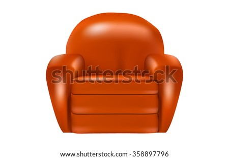 Orange leather armchair isolated on white background - stock vector