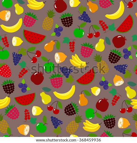 Orange,lemon,watermelon, pineapple,banana,strawberry,blueberry,blackberry,cherry on brown background.For fabric pattern, paper, package, food industry