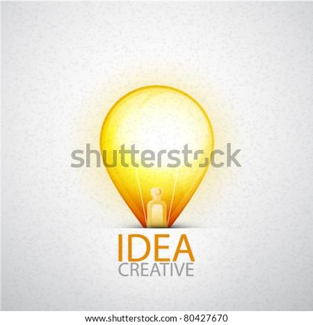 Orange light bulb on textured background. Vector eps10 illustration - stock vector