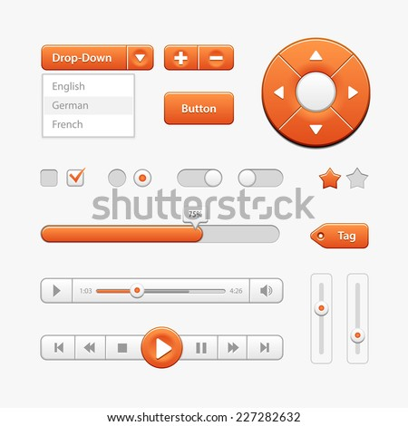 Orange Light User Interface Controls. Web Elements. Website, Software UI: Buttons, Switchers, Drop-down, Navigation Bar, Menu, Check Box, Radio, Scroller, Progress Bar, Volume, Tag, Player, Play