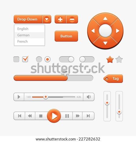 Orange Light User Interface Controls. Web Elements. Website, Software UI: Buttons, Switchers, Drop-down, Navigation Bar, Menu, Check Box, Radio, Scroller, Progress Bar, Volume, Tag, Player, Play - stock vector