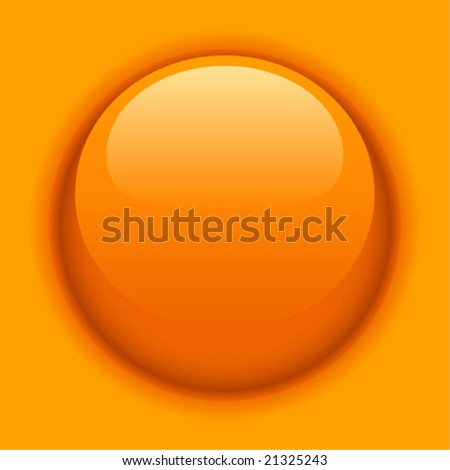 Orange liquid button or icon. Vector illustration. - stock vector