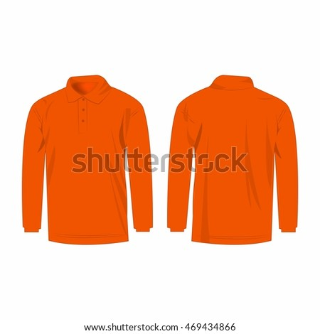 Orange long sleeve polo isolated vector