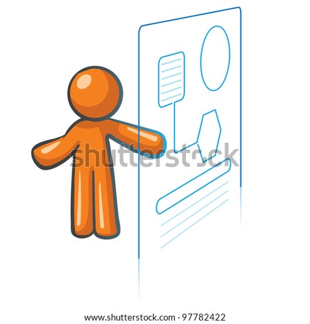Orange Man information systems concept, information management and databases. - stock vector