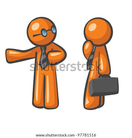 Orange Man presenting his colleague to a practical business solution, concept in affiliate marketing, website sales conversions, and business relationships. - stock vector