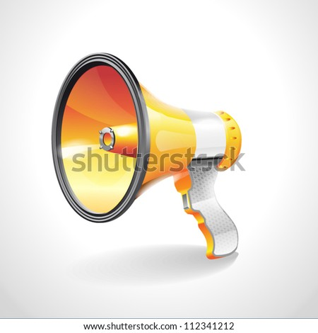 Orange Megaphone Icon (Loudspeaker) on white background - stock vector