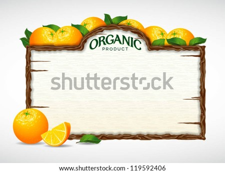 orange menu board - stock vector