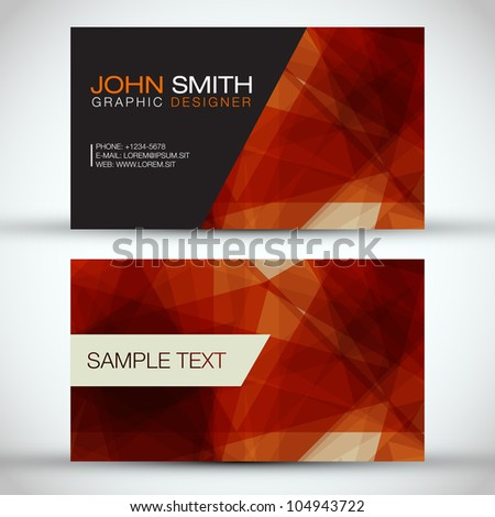 Orange Modern Business-Card Set | EPS10 Vector Design - stock vector