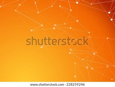 Orange molecule connection atom business background - structure model corner border. Vector illustration - stock vector