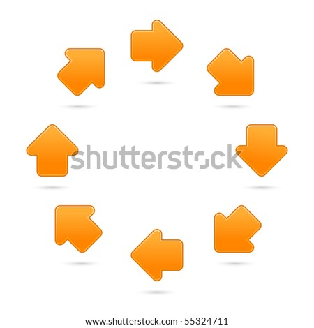 Orange motion sign web 2.0 internet button. Smooth colored shapes with shadow on white background