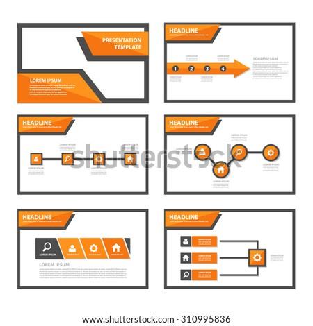 Orange multipurpose infographic presentation template flat design set for brochure flyer advertising and marketing - stock vector