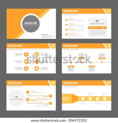 Orange multipurpose presentation template flat design set for brochure flyer marketing and advertising  - stock vector
