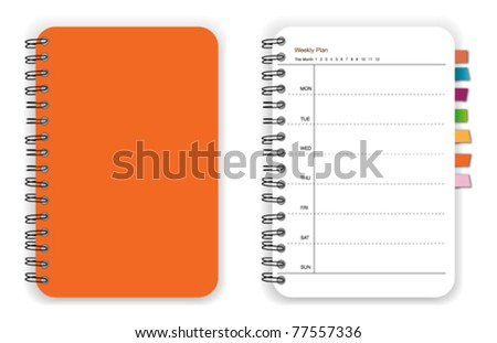 Orange notebook planner - stock vector