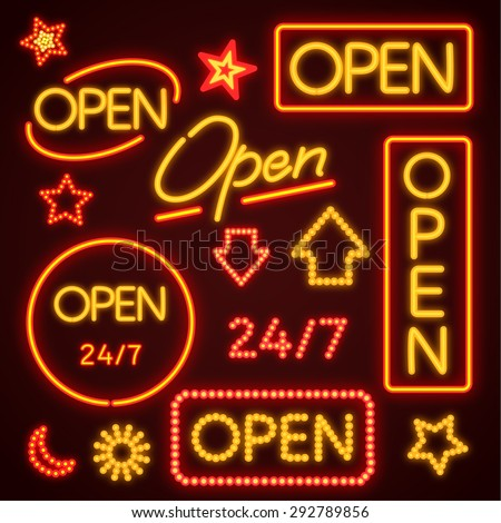 Orange Open Neon Sign - stock vector