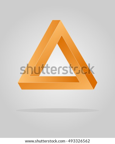 Orange optical illusion triangle, infinity loop