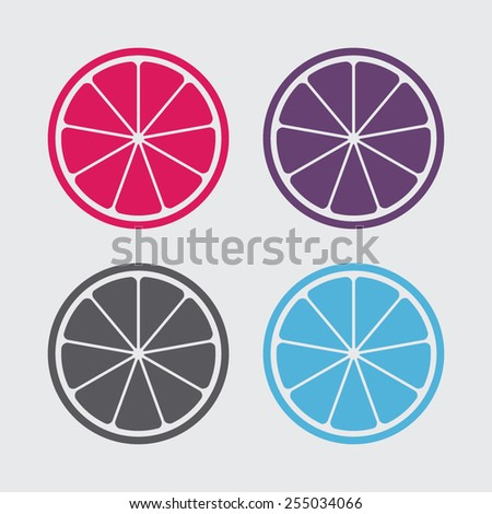 Orange or lemon slice vector icon.